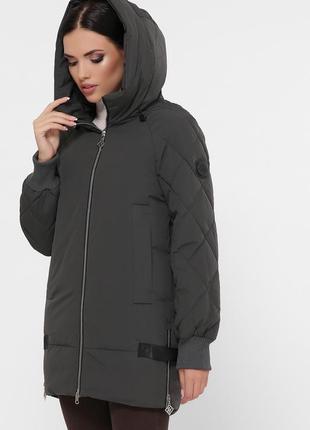 Зимняя укороченная куртка хаки