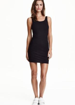Базовое чёрное облегающее платье-майка чёрное h&m новое с биркой