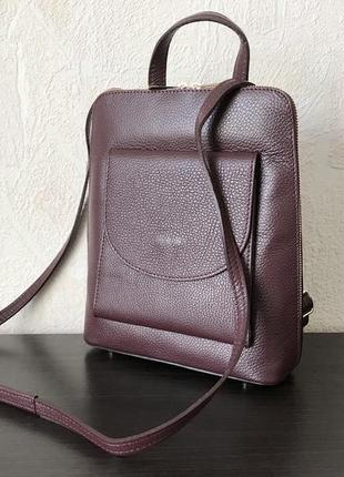 Сумка-рюкзак 29478 натуральная кожа /италия/ марсала