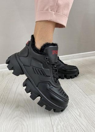 Ботинки кожаные зимние черные c 37-40