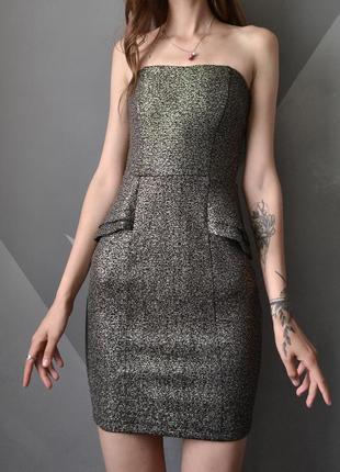 Вечернее платье-бандо с золотистым напыление orsay