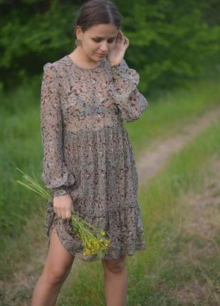 Легкое воздушное платье в цветок, шифон шифоновое нежное цвет хаки скидки 1+1=3