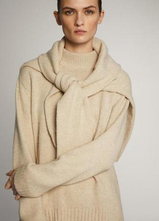 Теплый свитер с высоким воротом massimo dutti