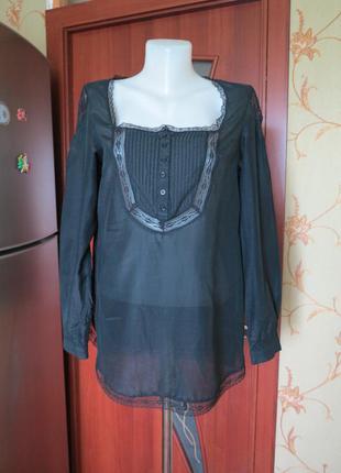 Блуза оверсайз черная с кружевом naf-naf+подарок!!!