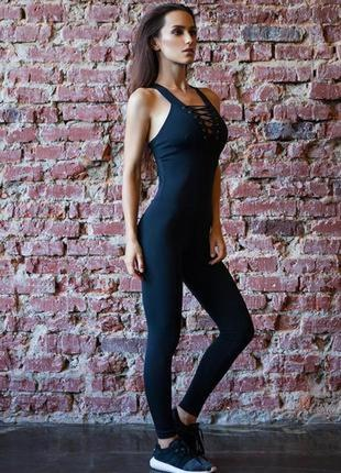 Акция комбинезон designed for fitness чёрный спортивный фитнеса йоги цена без торга