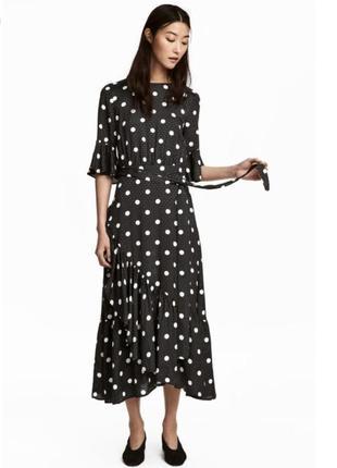 Стильное платье h&m в горошек, с воланами.