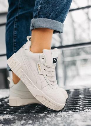 Кроссовки с мехом puma cali женские белые