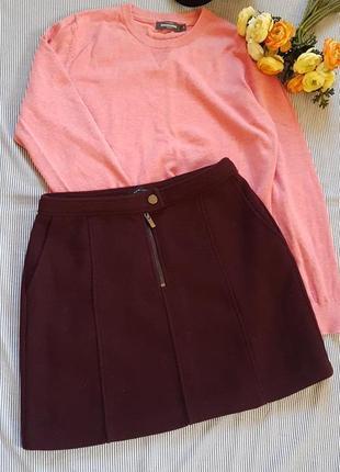 Актуальная юбка мини теплая трапеция шерсть
