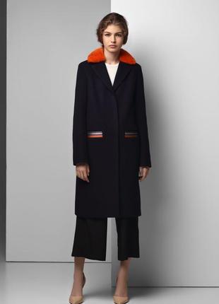 Пальто с цветным натуральным мехом зима демисезон утеплённое шерсть
