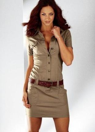 Платье в стиле милитари 97% коттон футляр классика хаки