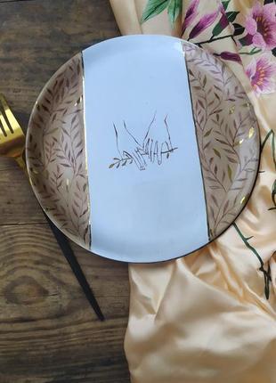 Керамическая тарелочка с авторской росписью.