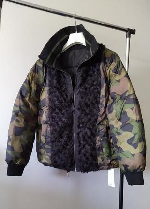 Новый пуховик zadig & voltaire двухсторонний куртка бомбер камуфляж 80% пух пуффер зима