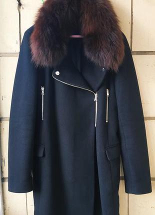 Зимнее термо пальто zara с натуральным мехом