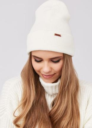 Теплая двойная шапка с отворотом