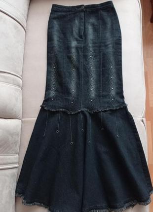 Эксклюзивная трендовая модель! длинная джинсовая юбка годе по фигуре