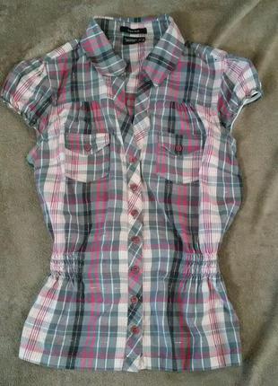 Рубашка в клеточку с короткими рукавами