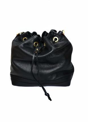 Натуральная кожа. кожаная женская черная сумка-мешок max. п38966