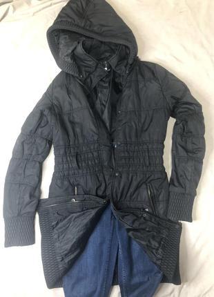 🗃демисезонная куртка пальто удлиненная чёрная