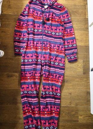Теплая плюшевая пижама комбинезон ромпер кигуруми