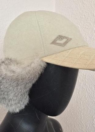 Модная кепка с натуральным мехом , картуз италия,капитанка кепи,бейсболки