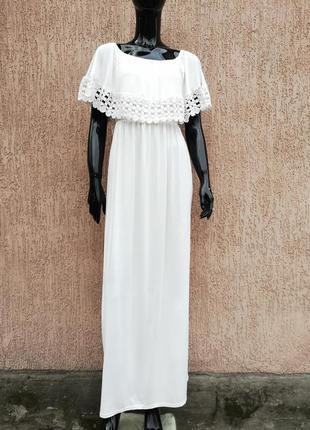 Вискозный длинный белый сарафан платье в пол boohoo