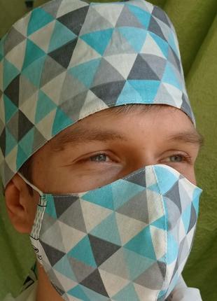 Медицинская шапочка бандана с маской