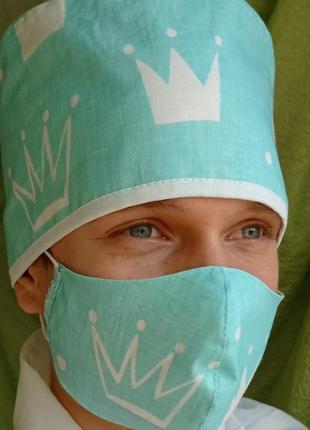 Медицинская бандана шапочка с маской