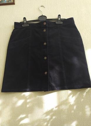 Вельветовая юбка на пуговицах m&s, размер м/l