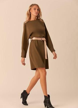 Оливковое платье с длинным поясом love republic 0152065517-13