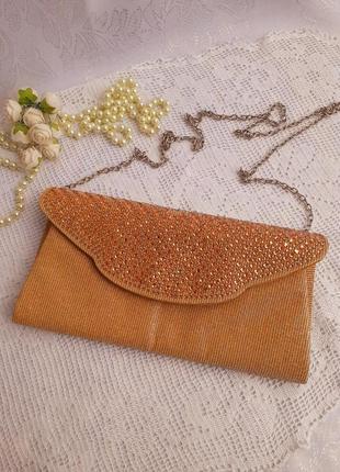 🎀клатч 🎄сумка 👌🍬сумочка конверт на цепочке золото текстильная со стразами