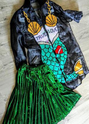 Шикарная новая изумрудная юбка плиссэ