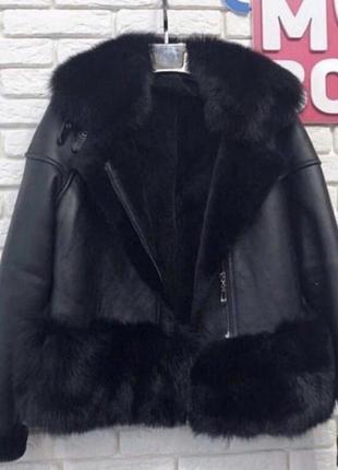 Косуха укороченая дубленка с мехом куртка шуба курточка