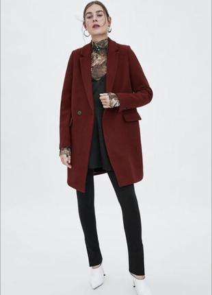 Пальто шерстяное zara бордо