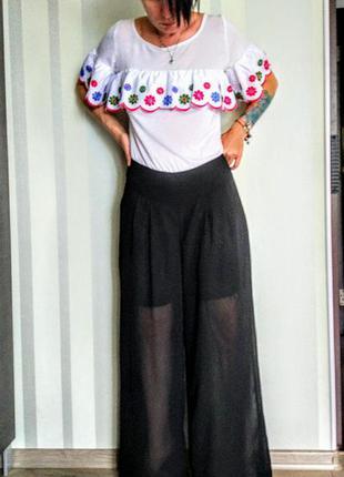 Клевые прозрачные шифоновые черные брюки большой размер.