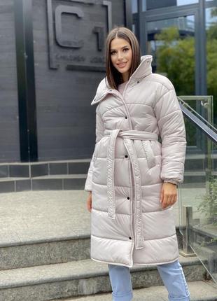 Стильное пальто стёганное светлое осень зима