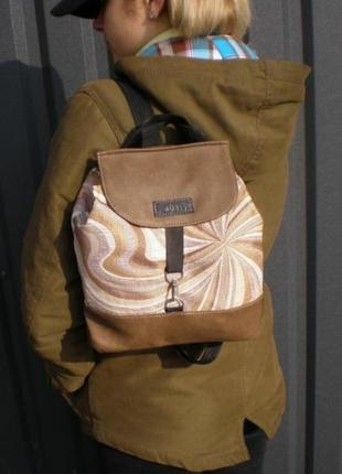 Маленький рюкзак ручной работы. необычный принт. кожа/текстиль