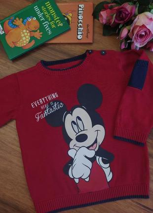 Модный хлопковый свитер с микки маусом disney на 1-1,5 года.