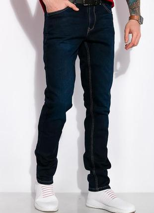 Новые стильные базовые прямые мужские джинсы темно-синего цвета