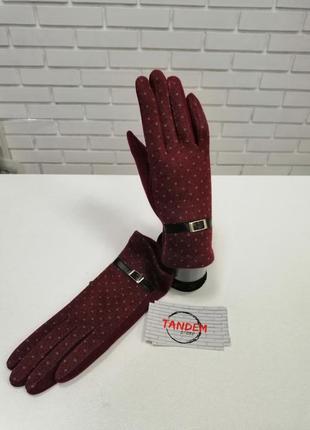 Женские перчатки кашемировые бордовые