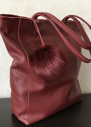 Сумка-мешок 29451 натуральная кожа /италия/ темно-красная