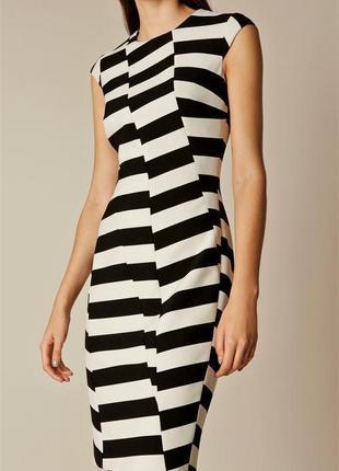 Чёрно белое платье в полоску футляр люксового брэнда karen millen/оригинал