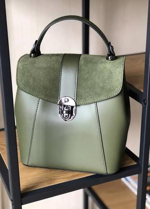 Рюкзак рюкзачок шкіряний 2в1 италия натуральная кожа італійський хаки зелений