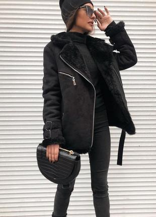 Дубленка авиатор зимняя теплая черная