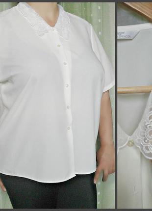 Шелковая блуза с вышитым воротом, большой размер