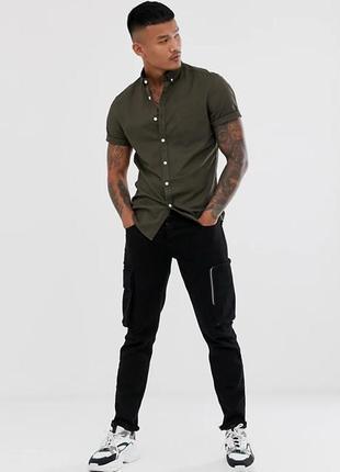 Мужская рубашка милитари / тениска / шведка asos размер м хаки