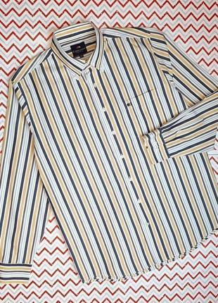 😉1+1=3 белая рубашка сорочка в полоску с длинным рукавом commander, размер 48 - 50