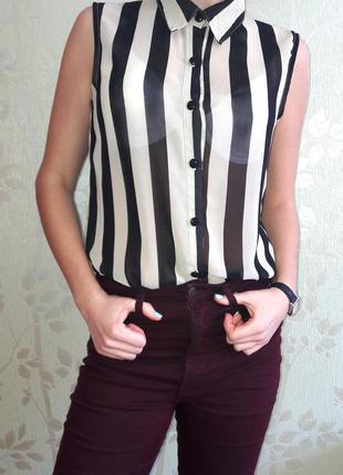 Модная полосатая блузка-рубашка