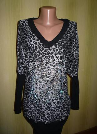 Красивый женский свитер, туника со стразами, леопардовой расцветки , bluemarine , кофта