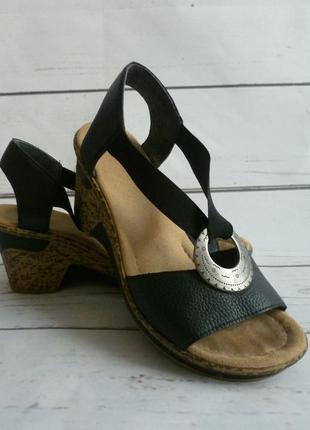 Чёрные  босоножки, сандали antistress германия оригинал rieker