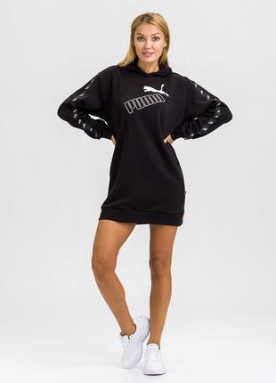 Платье женское спортивное amplified hooded dress черного цвета